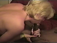 Provocative blonde chick gets boned hard by a black stud