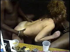 Slut with a white butt getting rammed by two black cocks