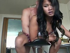 Gorgeous looking Asian cutie getting fucked with a white rod