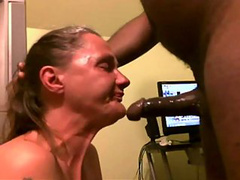Nasty and mature blonde on her knees gagging during deep-throating