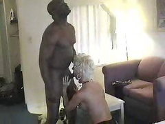 Blonde mature woman invites her black friend for a cup of fuck