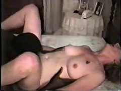 Mature slut with saggy tits and curls sucking cock and in a 69
