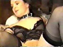 Slutty bitch with a cummy cunt sucking black cock