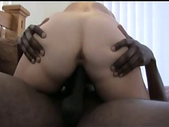 Fatty mature housewife on her back and sucking black cock