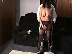 Mature wife is being undressed and shagged with a black pole