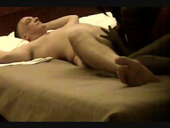 Mature dude in bliss while a hot chick blows his needy cock