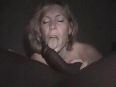 Blonde and mature wife munching on a throbbing and shaved BBC