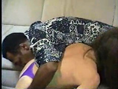 Slim brunette servicing a black dick