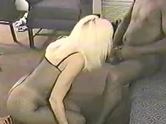 Hot blonde has her face full of ebony cock
